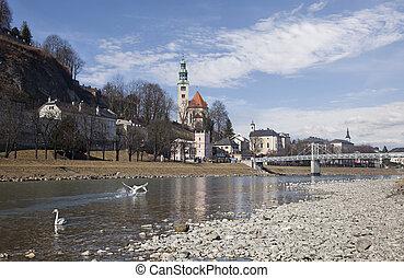 The Salzach river running through Salzburg, Austria