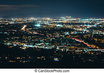 View of the San Fernando Valley from Mulholland Drive, in Los Angeles, California.