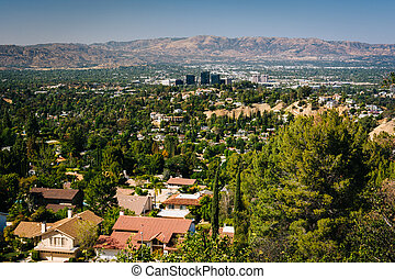 View of the San Fernando Valley from Top of Topanga Overlook, in Topanga, California.