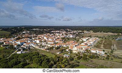 View of the Santa Justa, Coruche Santarem Portugal. Aerial drone bird's eye view photo