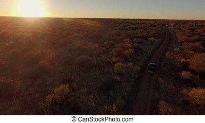 View of the savannah of Namibia at sunset and a car for safari.