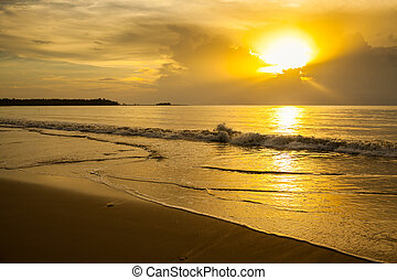 view of the sea before sunset at Khao Lak, Thailand.
