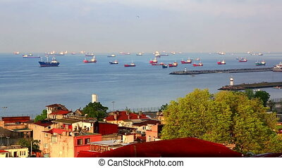 View of the Sea of Marmara and the ships standing on raid. Istanbul, Turkey