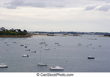 view of the sea with boats