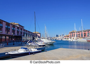 View of the seaport of Genoa - Italy