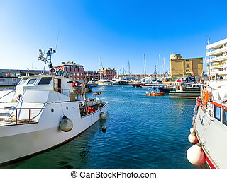 View of the seaport of Genoa, Italy