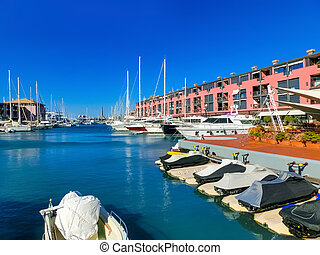 View of the seaport of Genoa -