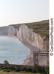 View of the Seven Sisters cliffs at Beachy Head in Sussex
