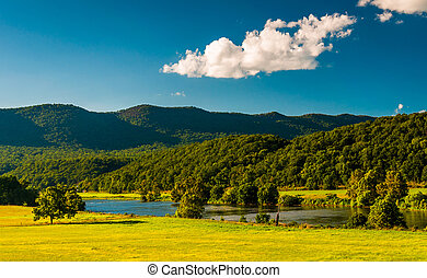 View of the Shenandoah River and Massanutten Mountain, in...