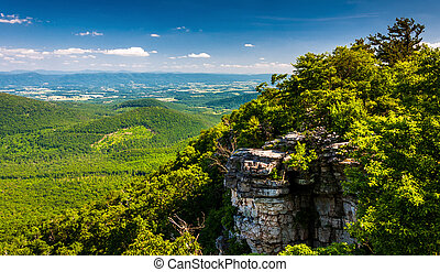 View of the Shenandoah Valley and cliffs seen from Big Schloss in George Washington National Forest, Virginia.