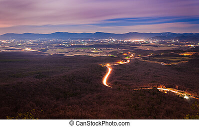 View of the Shenandoah Valley and Luray at night from ...