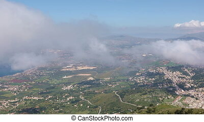 View of the Sicilian coast from mount Erice, Italy -...