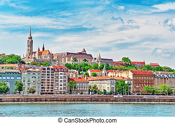 View of the side river Danube and the part of city Budapest-...