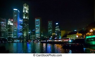 View of the Singapore business center and the river
