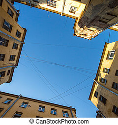 View of the sky from the yard of a well in St. Petersburg,...