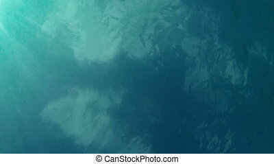 View of the sky with clouds from sea depth