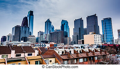 View of the skyline from a parking garage in Philadelphia, Pennsylvania.