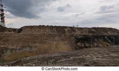 the slag heaps - view of the slag heaps near the steel...