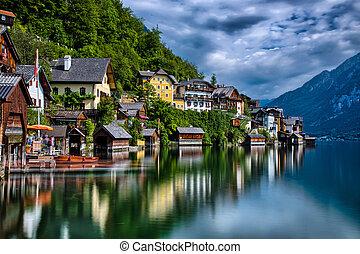 View of the small historical village in Austria Hallstatt