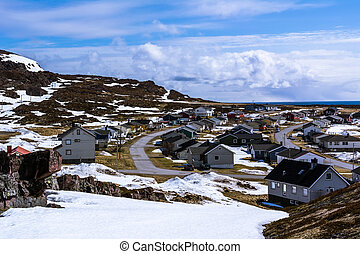 View of the small Norwegian village on the seashore
