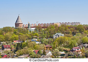 View of the Smolensk fortress, impregnable bastion, reliably...