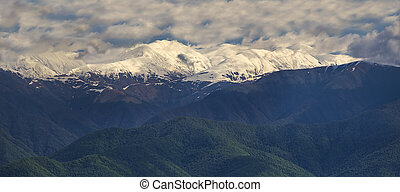 snow-white peaks of the mountains in Kakheti
