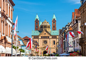 View of the Speyer Cathedral from the Maximilian Street - ...