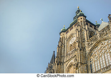 View of the St.Vitus Cathedral in Prague, Czech Republic.