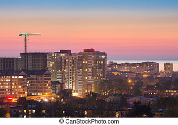 View of the sunset on the sleeping area of the city of Anapa, Russia