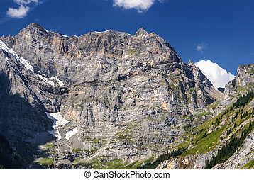 View of the Swiss alps: Beautiful Gimmelwald village, central Switzerland
