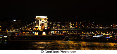 View of the Szechenyi Bridge at night in Budapest, Hungary
