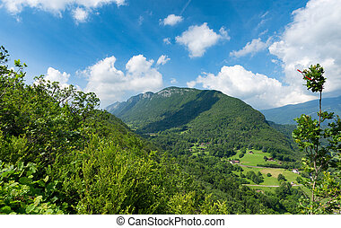 View of the Taillefer mountain in Haute Savoie, France - a...