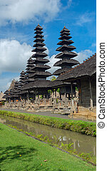 View of the temple complex in Bali on a sunny day