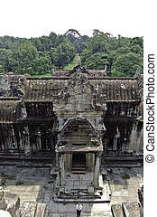 View of the temple of Angkor wat from above, in Canbodia