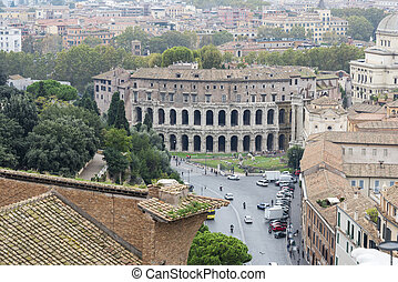 View of the Theatre of Marcellus from the roof of the Vittoriano.