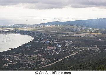 View of the Thin cape of Gelendzhik Bay from the lookout Safari Park. Resort city Gelendzhik, Krasnodar Region, Russia