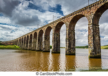 View of the three bridges in Berwick-upon-Tweed