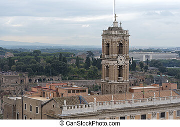 View of the tower of the city Of Rome from the roof of Vittoriano.