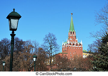 View of the tower of the Moscow Kremlin from the Alexander Garden