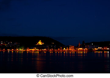 view of the town Bingen at the shore of the Rhine