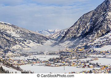 View of the town in the valley Gastein, Austria