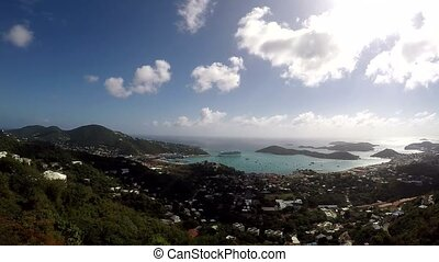 View of the town of Charlotte Amalie in St. Thomas in the US Virgin Islands.