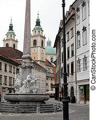 View of the town of Ljubljana in Slovenia