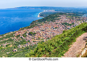 View of the town of Palmi from Mount Sant'Elia, Italy