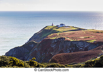 View of the trails on Howth Cliffs and Howth Head in Ireland