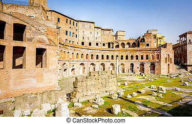 View of the Trajan's Market ruins in Rome
