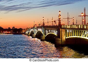 View of the Trinity Bridge in St. Petersburg, Russia.