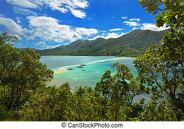 View of the tropical island with Snake Island. El Nido, Philippines.