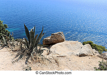 View of the turquoise Aegean Sea