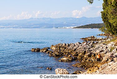 View of the turquoise water on the shore of the Croatian lagoon